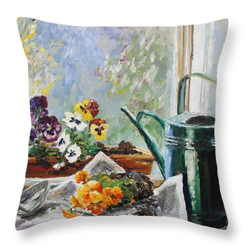 Pansies For My Window Box Throw Pillow by Barbara Pommerenke