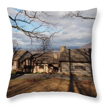 Papa Toms Cabin In The Woods Throw Pillow by Robert Margetts