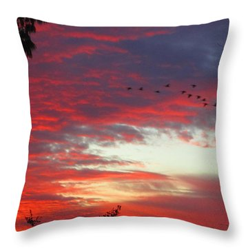 Papaya Colored Sunset With Geese Throw Pillow by Kym Backland