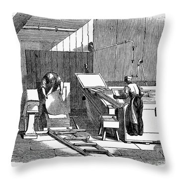 Papermaking, 1833 Throw Pillow by Granger