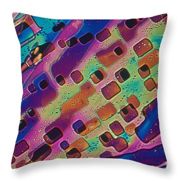 Paradichlorobenzene Crystals  Throw Pillow by Michael Abbey and Photo Researchers