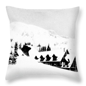 Paradise Inn Buried In Snow, 1917 Throw Pillow by Science Source