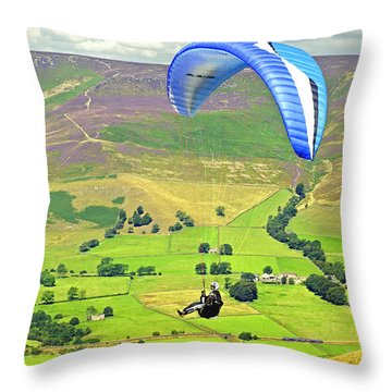 Paragliding Off Mam Tor 01 Throw Pillow by Rod Johnson