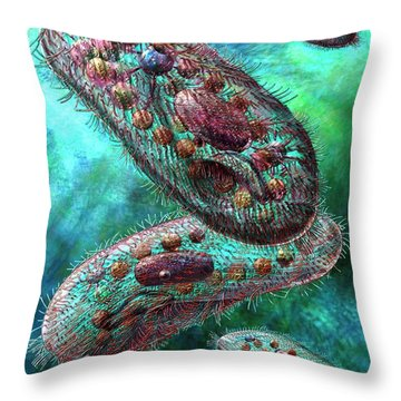 Paramecium Throw Pillow