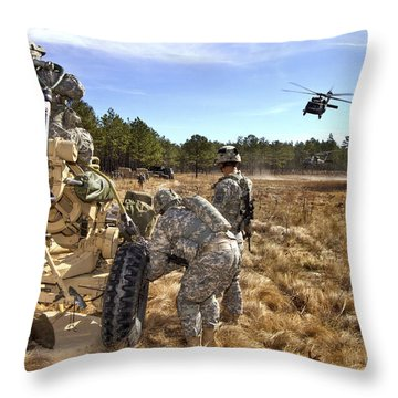 Paratroopers Prepare To Hook Up An Throw Pillow by Stocktrek Images