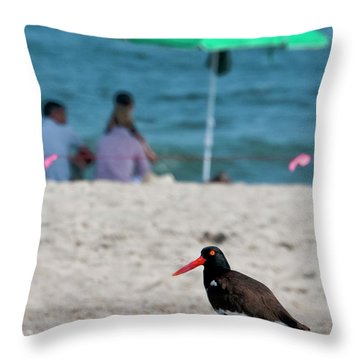 Parenting On A Beach Throw Pillow