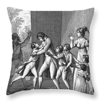 Parents And Children, 1800 Throw Pillow by Granger