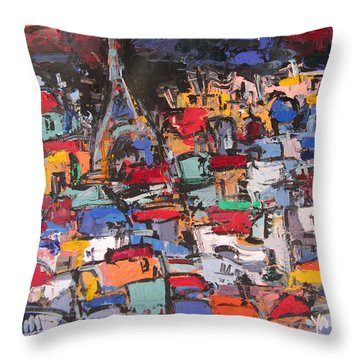 Paris At Night 02 Throw Pillow by Len Yurovsky