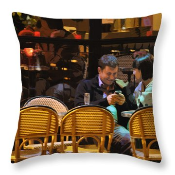 Paris At Night In The Cafe Throw Pillow by Mary Machare