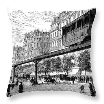 Paris: Tramway, 1880s Throw Pillow by Granger