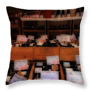 Paris Wine Shop Throw Pillow by Andrew Fare