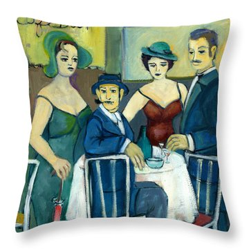 Parisian Cafe Scene In Blue Green And Brown Throw Pillow