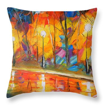 Parkside Stroll Throw Pillow by Jessilyn Park