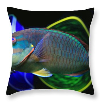 Parrot Fish With Glass Art Throw Pillow by David Salter