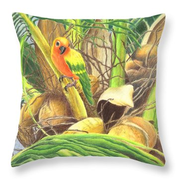 Parrot In Palm Throw Pillow by Norma Gafford