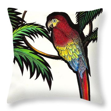 Parrot Shadows Throw Pillow