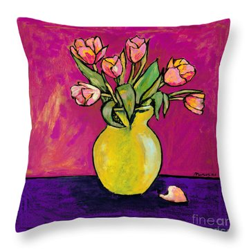 Parrot Tulips In A Yellow Vase Throw Pillow