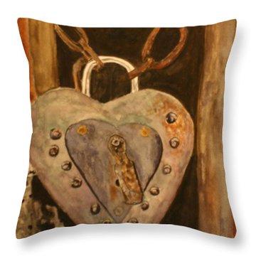 Parthenay Padlock Throw Pillow by Betty-Anne McDonald
