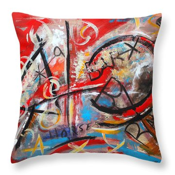 Throw Pillow featuring the painting Party At The Ranch by M Diane Bonaparte