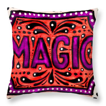 Throw Pillow featuring the painting Party Magic  by Nada Meeks