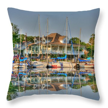 Pascagoula Boat Harbor Throw Pillow by Barry Jones