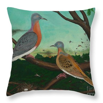 Passenger Pigeon Evening Flight Throw Pillow