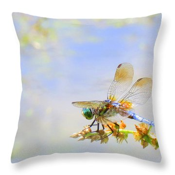 Throw Pillow featuring the photograph Pastel Dragonfly by Deborah Smith