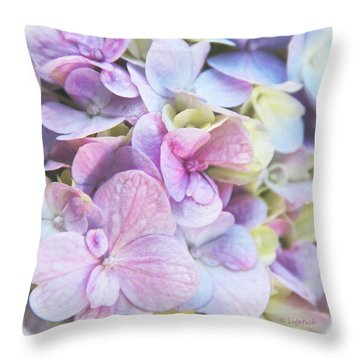 Throw Pillow featuring the photograph Pastel Hydrangeas - Square by Kerri Ligatich