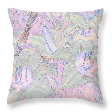 Pastel Lillies Throw Pillow