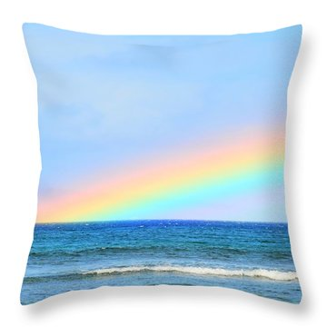 Pastel Rainbow Throw Pillow