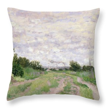 Path Through The Vines At Argenteuil Throw Pillow by Claude Monet