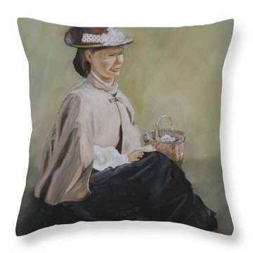 Patiently Waiting Throw Pillow by Joyce Reid
