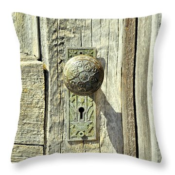 Throw Pillow featuring the photograph Patina Knob by Fran Riley