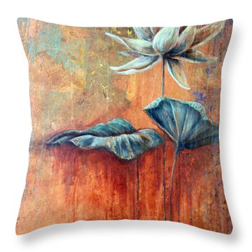 Patina Lotus Throw Pillow