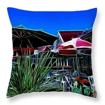 Patio Umbrellas Throw Pillow by Methune Hively
