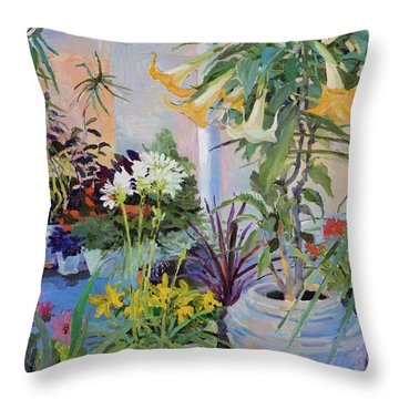 Patio With Flowers Throw Pillow