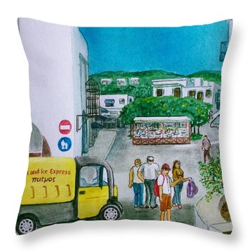 Patmos Fish Monger Throw Pillow by Frank Hunter