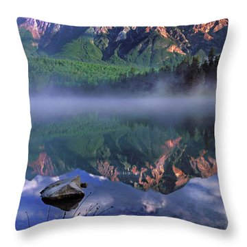 Patricia Lake Banff Canada Throw Pillow by Dave Mills