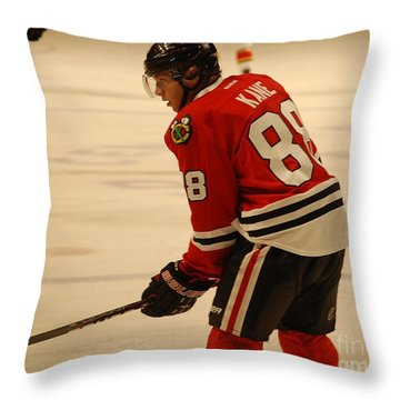 Throw Pillow featuring the photograph Patrick Kane - Chicago Blackhawks by Melissa Goodrich