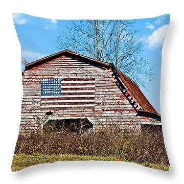 Patriotic Barn Throw Pillow by Susan Leggett
