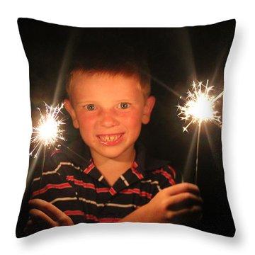 Patriotic Boy Throw Pillow by Kelly Hazel
