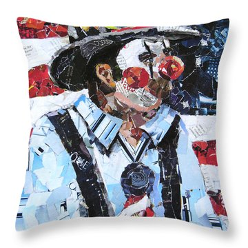 Patriotic Clown Throw Pillow by Suzy Pal Powell