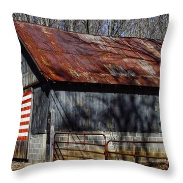 Patriotic Country Barn Throw Pillow