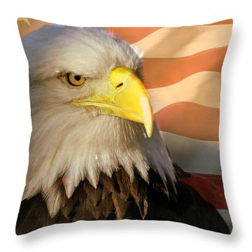 Patriotic Eagle Throw Pillow by Marty Koch