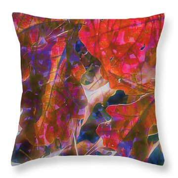 Patterns In Scarlet Throw Pillow by Judi Bagwell