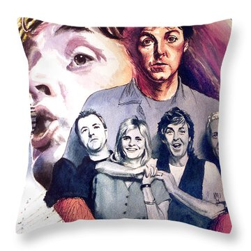 Paul Mccartney And Wings Throw Pillow by Ken Meyer