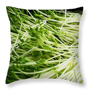 Pea Sprouts Throw Pillow by Tanya Harrison
