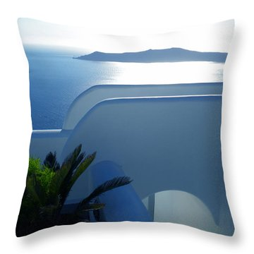 Peaceful Sunset Santorini Throw Pillow