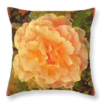 Peach Begonia Throw Pillow