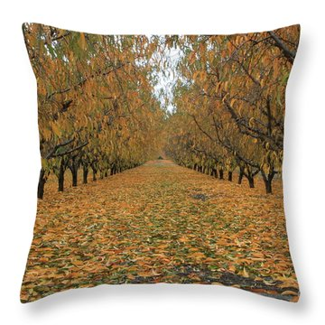 Peach Leaves Throw Pillow